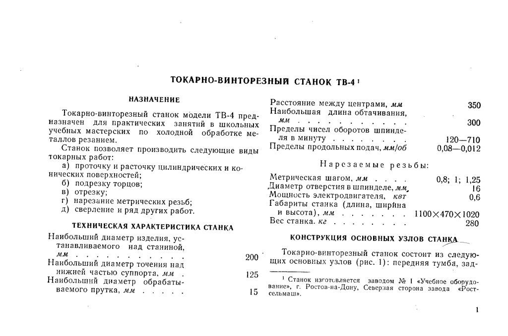 Паспорт станка ТВ-4